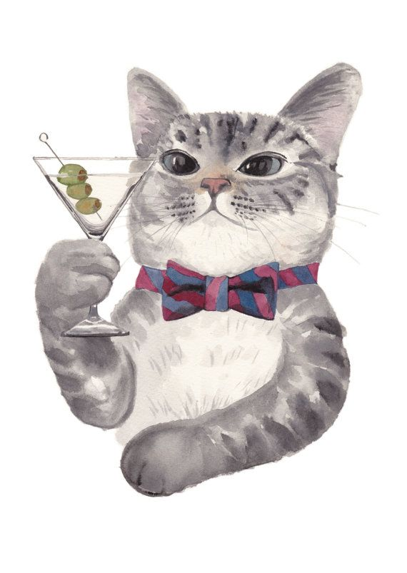Cat with Martini and Bow Tie. Art print of my original watercolor illustration. For cat and cocktail lovers.
