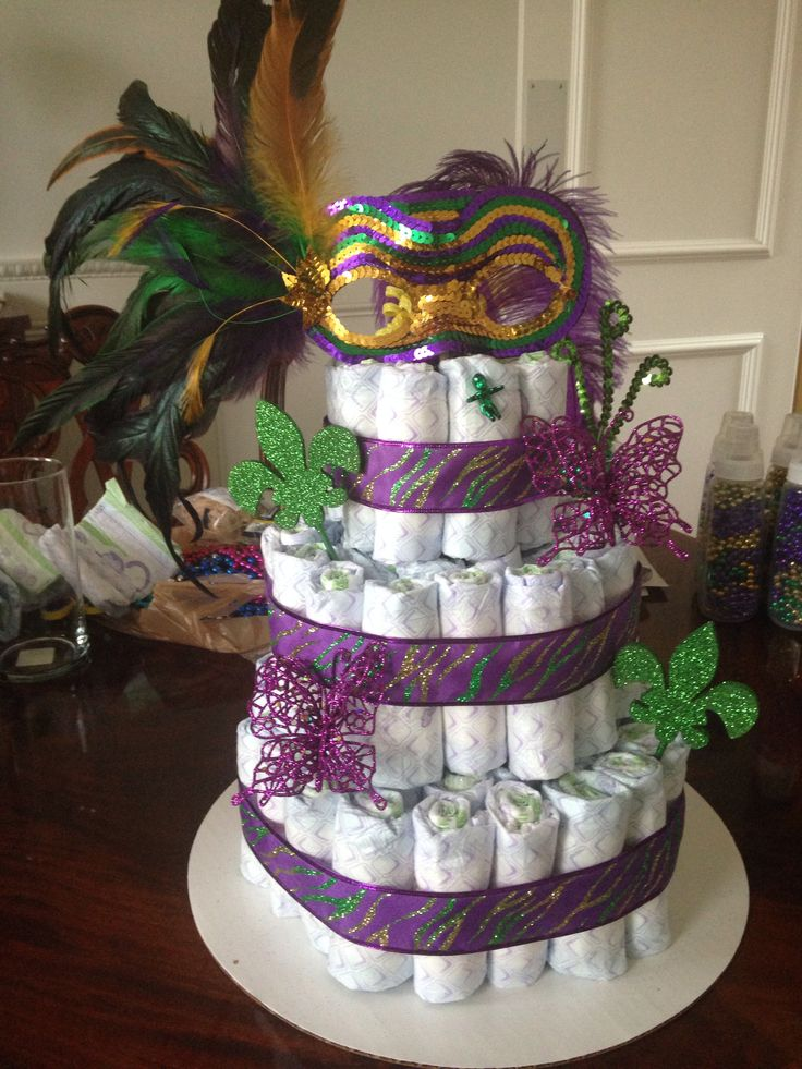 112 best images about mardi gras baby shower on pinterest for Baby shower diaper decoration game