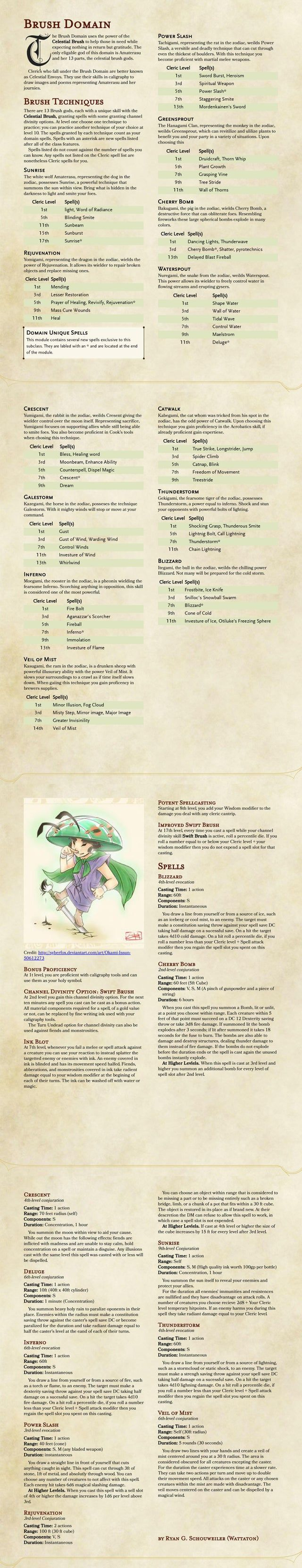 Divine Domain Inspired By Okami The Brush Domain V1 Unearthedarcana Okami Writing Promps Drawing Templates