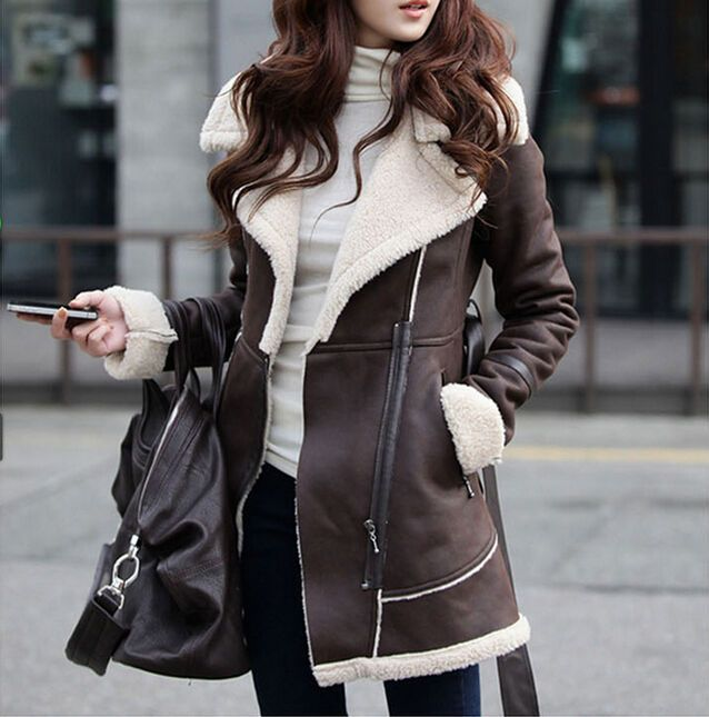 Womens suede leather fur lining long thick jacket trench parka coat outwear #UnbrandedGeneric #Fashion