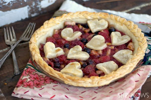 It's Pi(e) Day: Raspberry, Blueberry and Pear Pie with Braided Crust #recipe