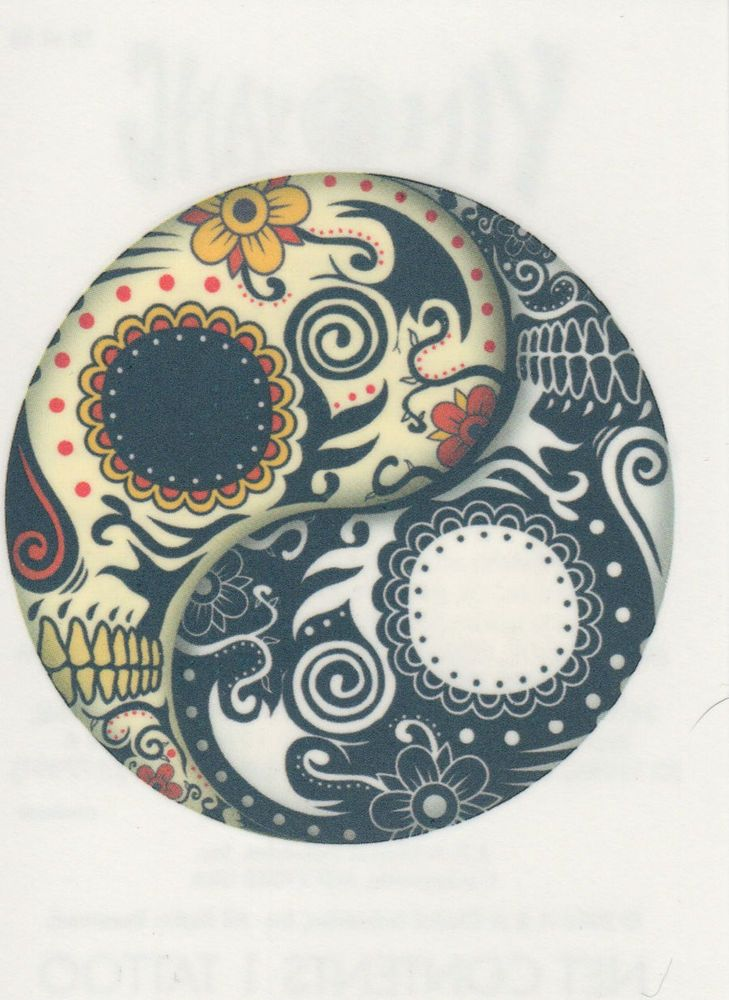 ❤ TEMPORARY TATTOO ❤ YIN YANG DAY OF THE DEAD SKULL ❤ MADE IN THE USA