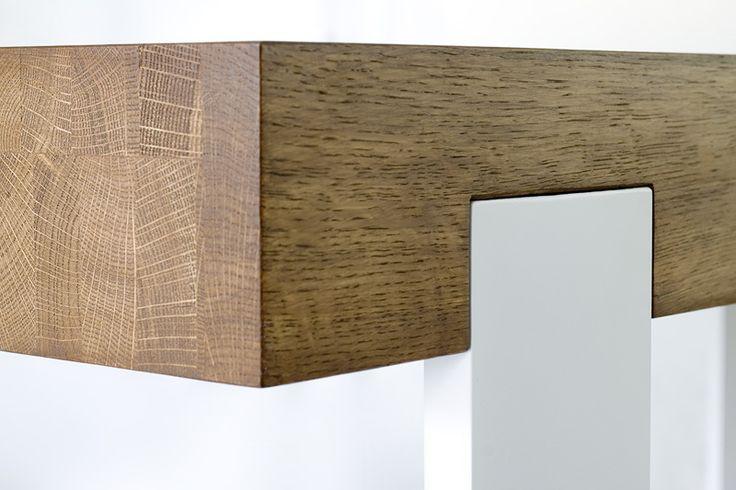 FRAME table top and leg join. Colour: Tobacco. - www.miloni.pl/en MILONI: wooden table, oak table, natural wood table, table design, furniture design, modern table
