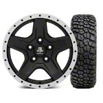 Mammoth Boulder Beadlock Style Black Wheel - 16x8 and BFG KM2 Tire 315/75- 16 (07-16 Wrangler JK)