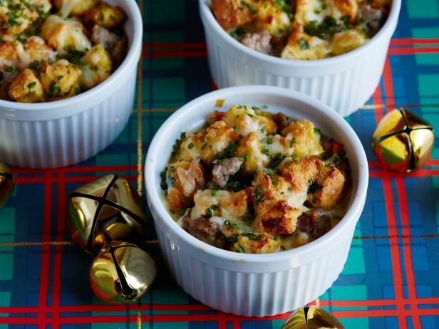 Get Sausage and Leek Savory Bread Pudding Recipe from Food Network