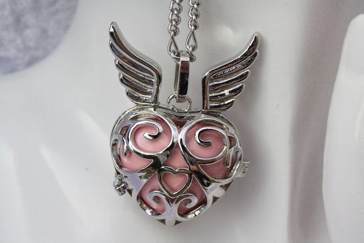 Ketten kurz - Kette Herz Engelrufer Klangkugel silber rosa   - ein Designerstück von trixies-zauberhafte-Welten bei DaWanda