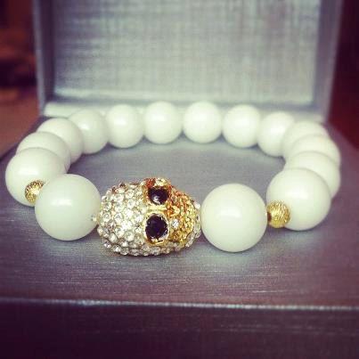 Unisex Crystal Paved Gold Skull Bacelet with Alabaster White Beads on Etsy, $9.24