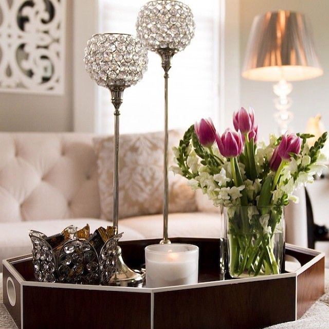 designbyoccasion showed us how her bling tealight lamps made this living room sparkle