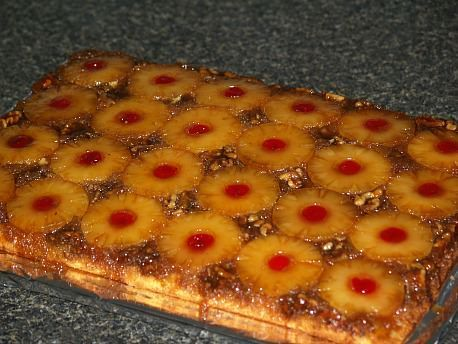 Learn how to make crowd size cake recipes. This recipe is for a large pineapple upside down cake. It is a very easy crowd size cake it will make 24 large pieces or 48 small pieces. It is made in an 18x13x2 inch cake baking pan.