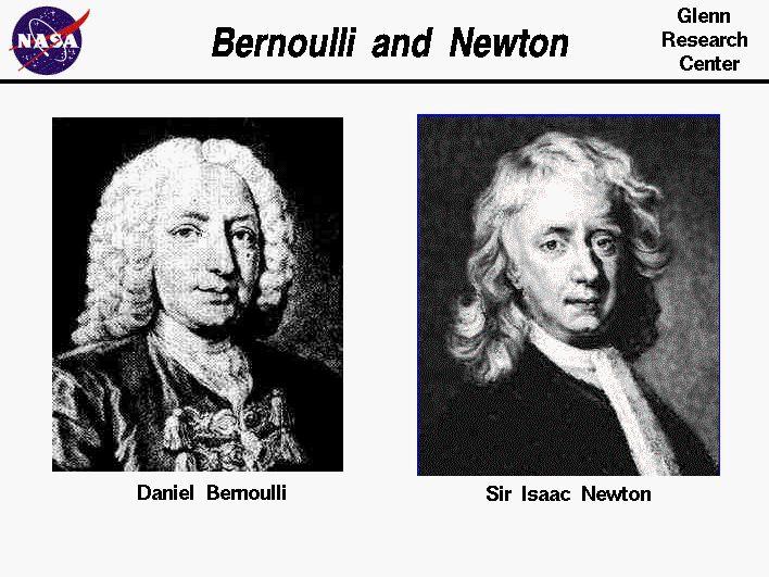 Portraits  of  Isaac Newton  and Daniel Bernoulli.