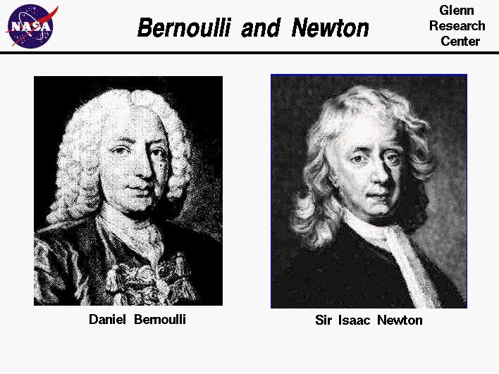 Portraits  of  Isaac Newton  and Daniel Bernoulli.