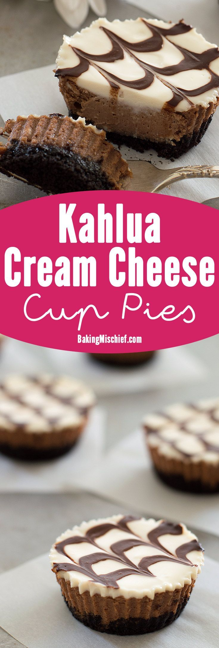 Mini mocha and Kahlua cheesecakes with a crunchy Oreo cookie base, cool sour cream topping, and fudge sauce. Recipe includes small-batch instructions and nutritional information. From http://BakingMischief.com