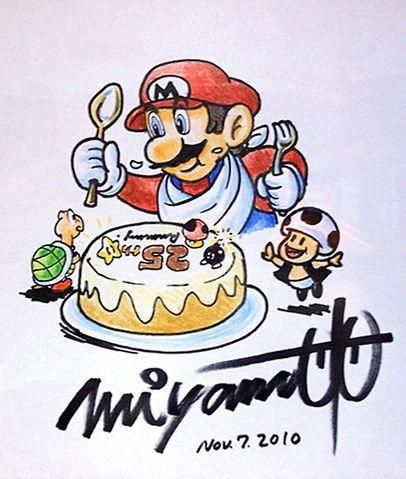 Mario eating his 25th birthday cake by shigeru miyamoto from the official artwork set for #SuperMarioAllStars 25th Anniversary Edition on #Wii. #Mario #MarioBros http://www.superluigibros.com/wii-super-mario-allstars-25th-anniversary