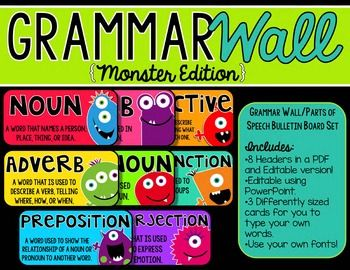 Grammar Wall Bulletin Board Set -Editable {Monsters Edition}