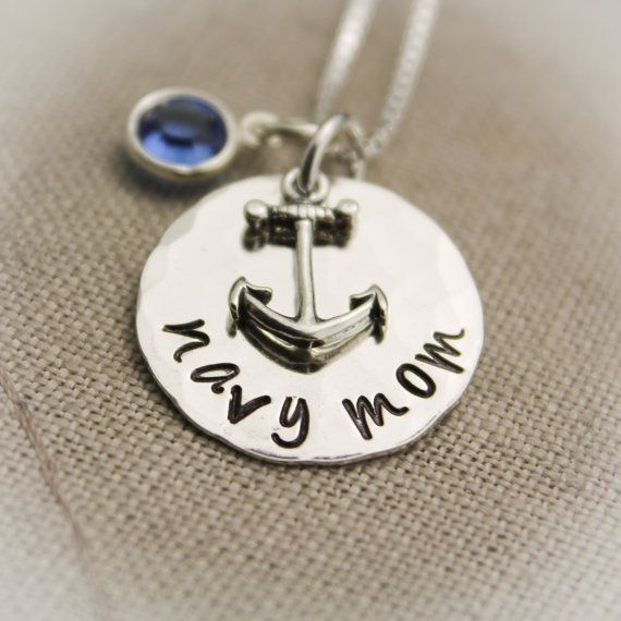 Navy Mom Hand Stamped Personalized Necklace in Sterling Silver with Anchor Charm and Birthstone