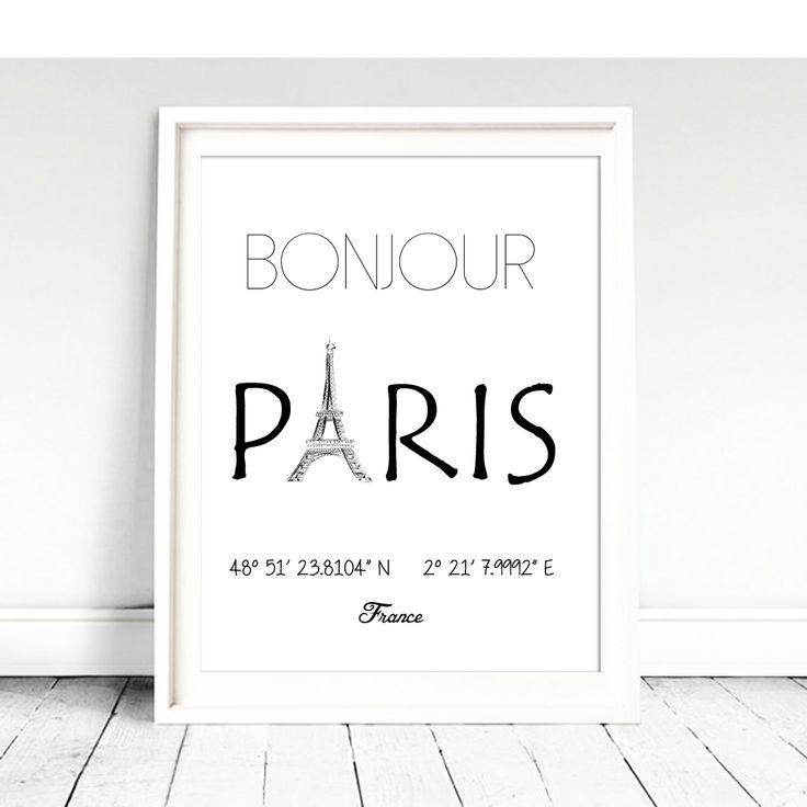 Wall Picture Canvas Print Bonjour Paris Eiffel Tower Location France Poster Art Wall Photo Art Poster World Famous City LZ335 #Affiliate