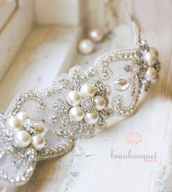 Bridal Sash Belt Marie Antoinette Rhinestone Pearl Bridal Sash. $195.00, via Etsy.