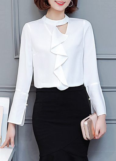 White Long Sleeve Round Neck Keyhole Flouncing Shirt on sale only US$29.69 now, buy cheap White Long Sleeve Round Neck Keyhole Flouncing Shirt at lulugal.com