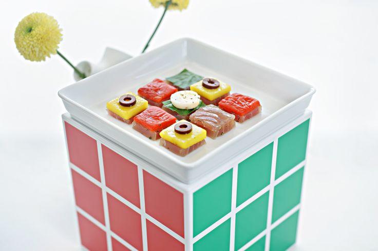 Rubiks salad nicoise.  Orbit restaurant, Luna2 studiotel, Bali. #Lunafood #food #rubikscube #saladnicoise #restaurant #cosmic #chef #fun