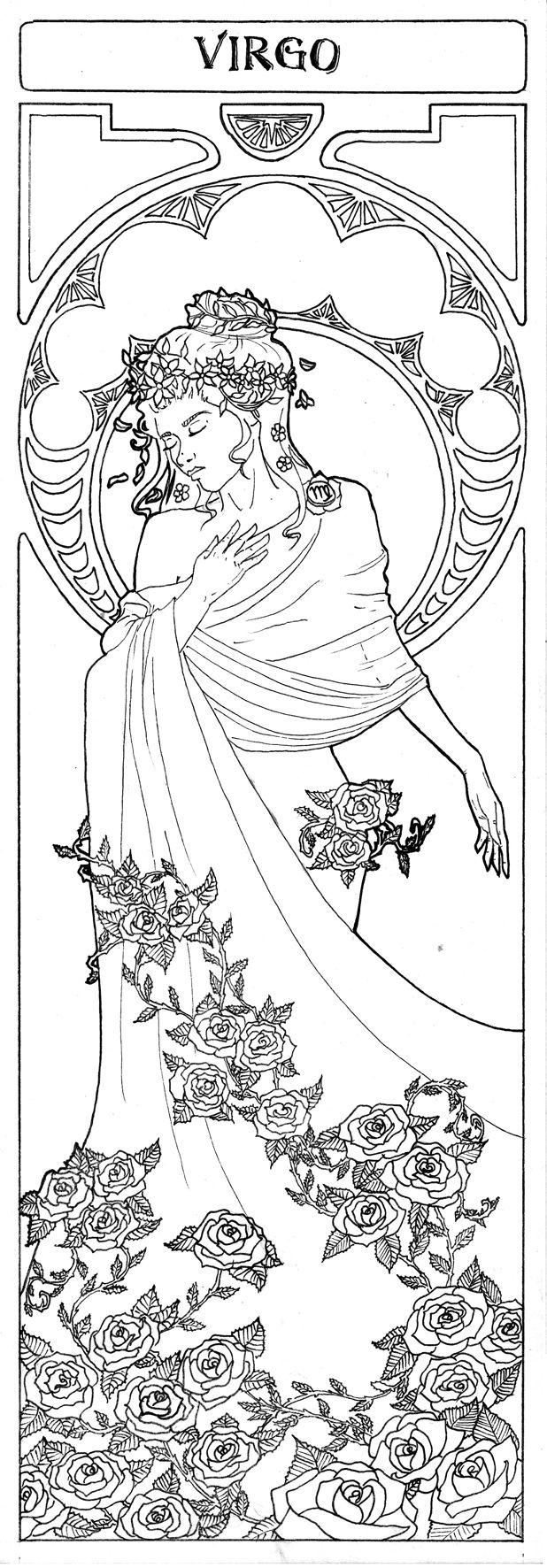 Coloring pages zodiac signs - Virgo The Virgin