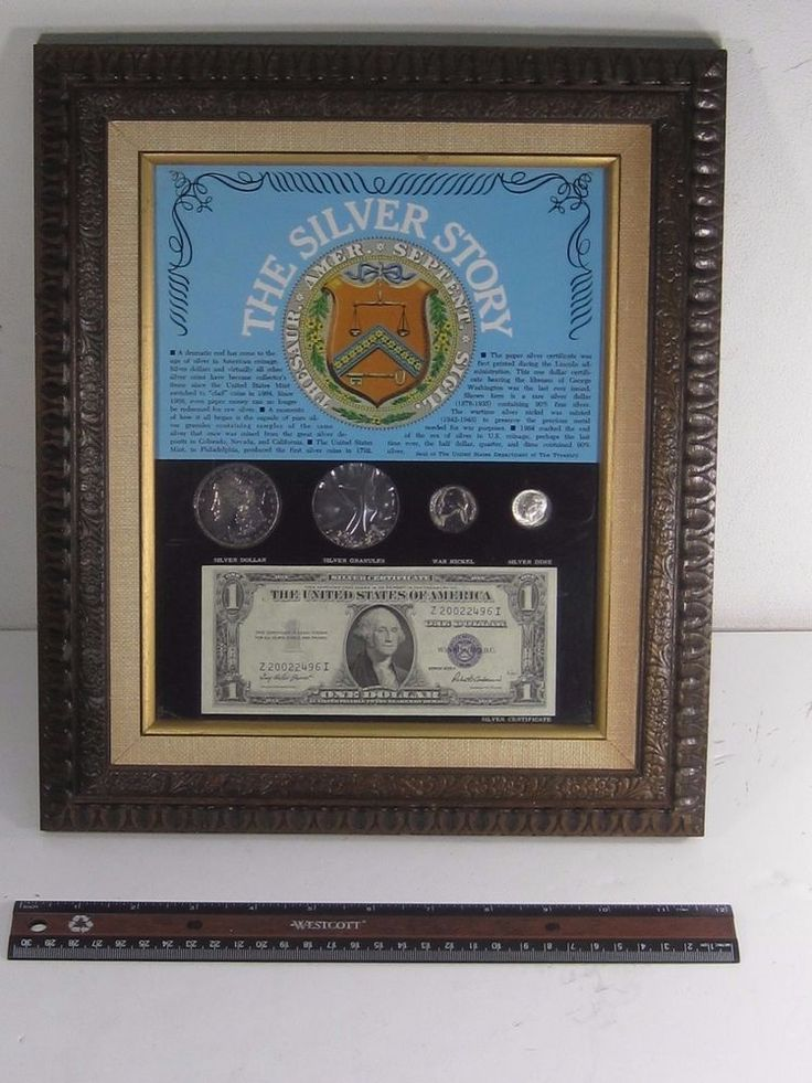 The USA Silver Story Coins and Certificate Plaque Morgan War Nickel Silver Dime