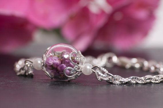 Real Heather Flowers in a Glass Globe on a by FoxandFernJewellery