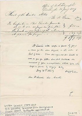 WALTER LOWRIE PA SENATOR ANTIQUE AUTOGRAPH SIGNED TELEGRAPH OFFICE LETTER 1829