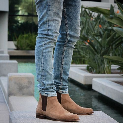 @orolosangeles Tan Suede Chelsea Boots | The Azul...