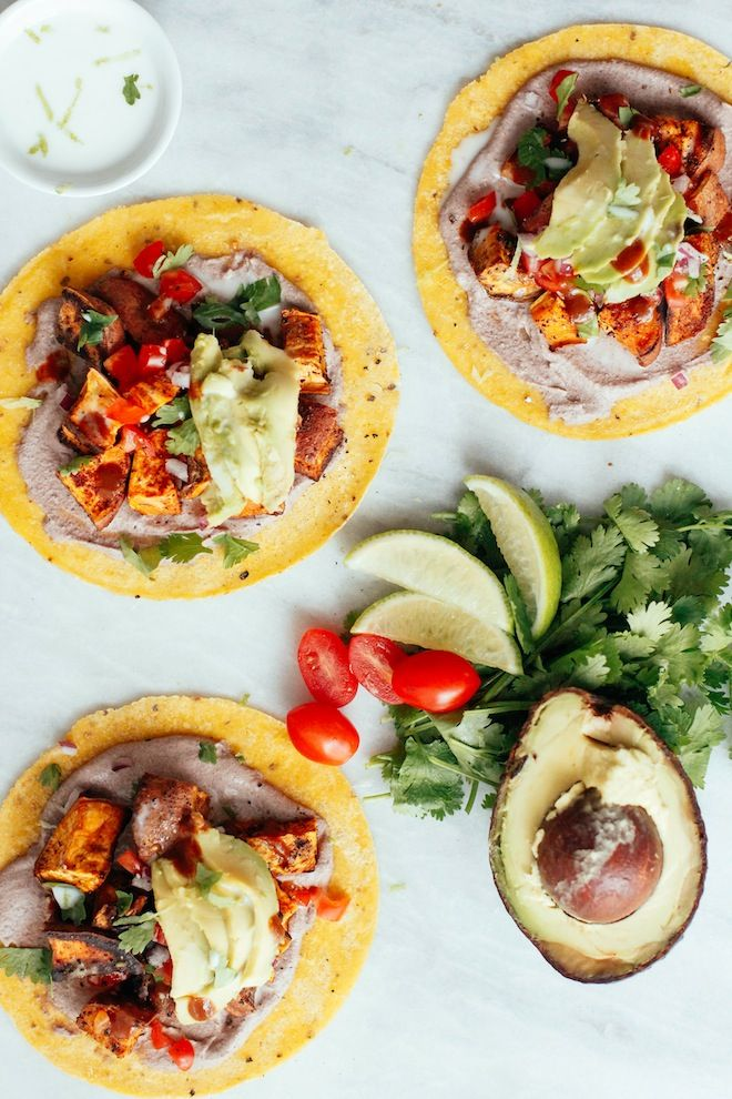 """Taco...Thursday? Yes, please! Sweet Potato Pecan Tacos made with ground pecans and sweet potatoes, eerily looks like """"taco meat"""" but tastes far better:"""