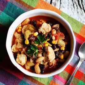 Chicken Chili w Black Beans  Corn #chickenchilli
