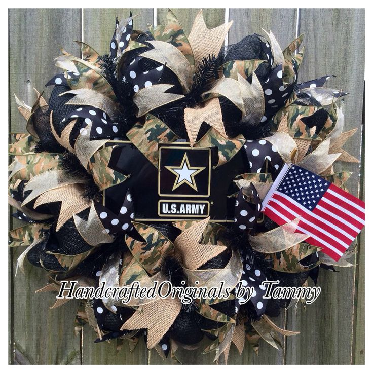 US army wreath, military wreath, burlap, camouflage, american flag, https://www.facebook.com/handcraftedoriginals