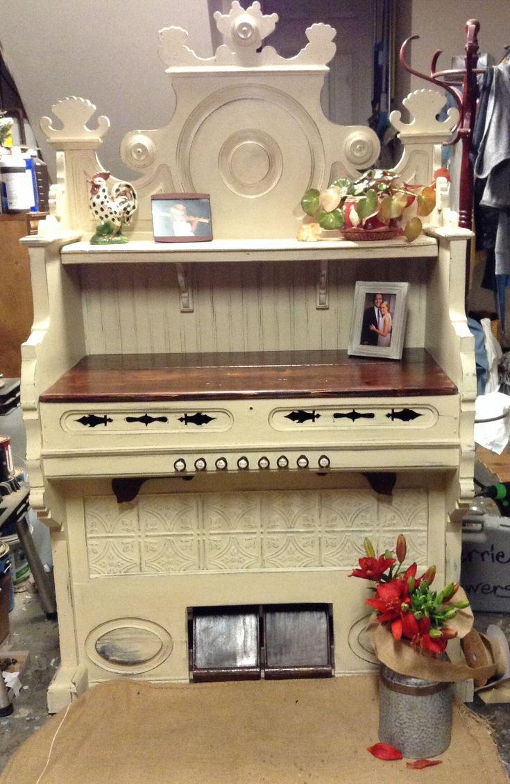 Repurposed parlor pump organ.