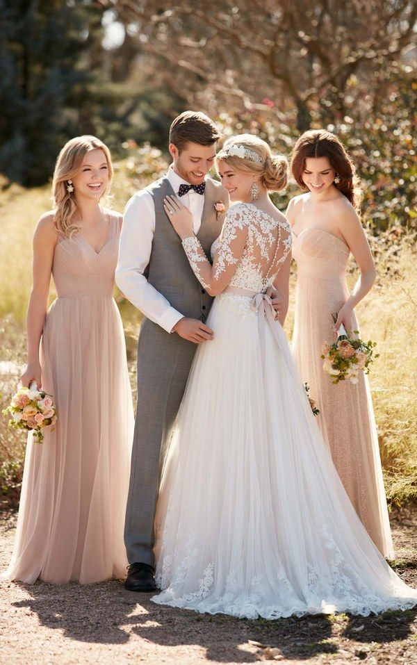 Illusion lace wedding dress with tulle skirt by Essense of Australia D2038 / http://www.deerpearlflowers.com/sorella-vita-bridesmaid-dresses/3/