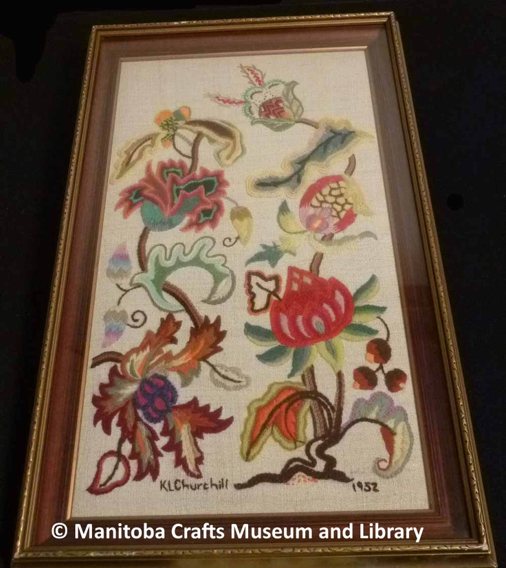 Artist: Kitty Churchill Embroidered Jacobean panel, framed.   Surface Crewel 1952