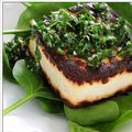 Tofu steaks with chimichurri and baby spinach