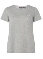 Womens Grey Embellished Motif T-Shirt- Grey
