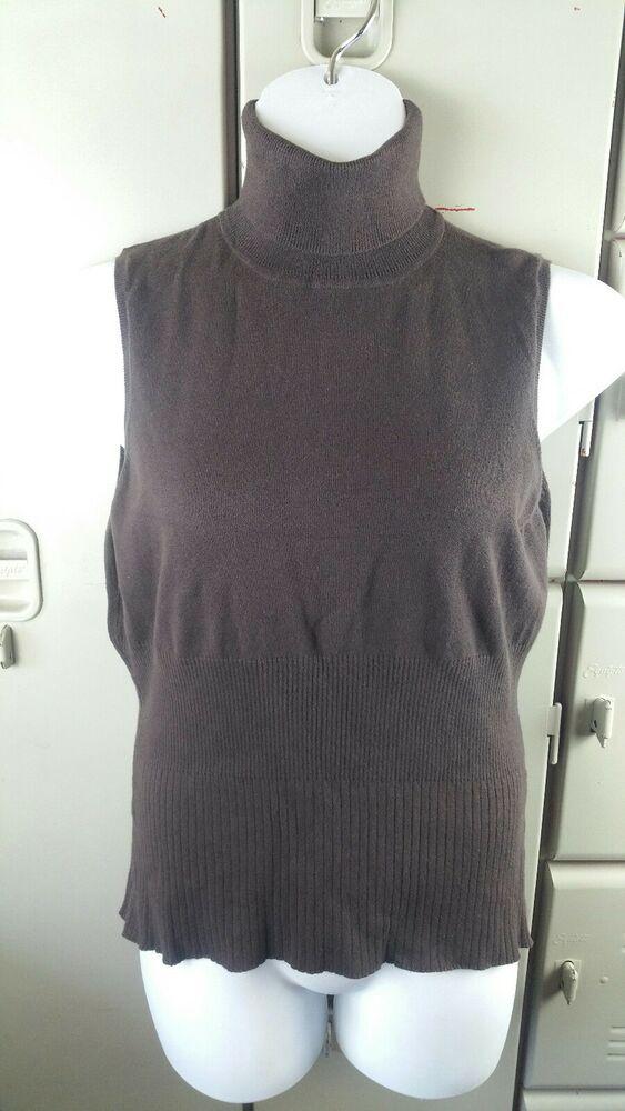 e3a5f206cb070f Axcess Liz Claiborne XL Womens Brown Sweater Vest Shell Sleeveless  Turtleneck O1  LizClaiborne  Sleeveless