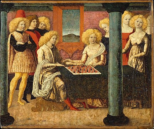 The Chess Players  Liberale da Verona (Liberale di Jacomo)  (Italian, Veronese, 1445–1527/29)  Date: ca. 1475 Medium: Tempera on wood Dimensions: Overall 13 3/4 x 16 1/4 in. (34.9 x 41.3 cm); painted surface 13 1/8 x 15 7/8 in. (33.3 x 40.3 cm)