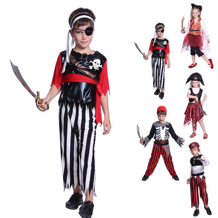 Kids Boys Girls Children Pirate Costume Halloween Party Fancy Dress  Hat