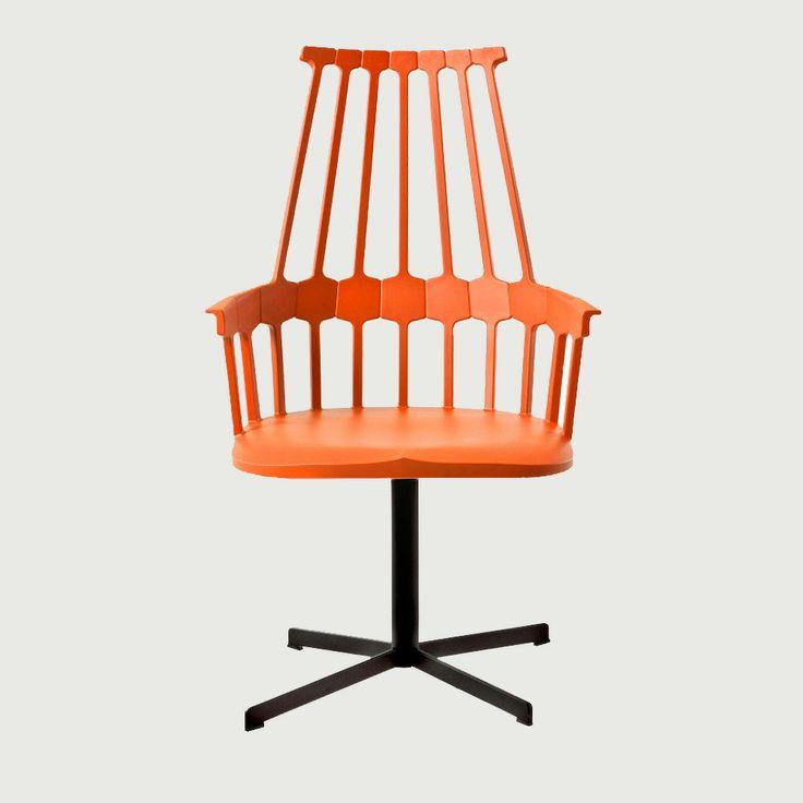 Comback Swivel Stol, Orange/Röd - Patricia Urquiola - Kartell - RoyalDesign.se