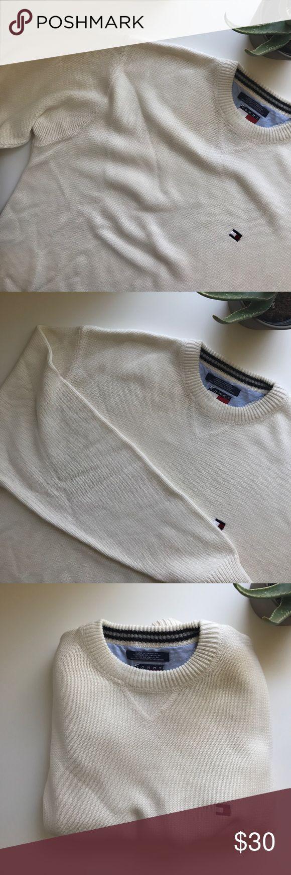 *dotd* tommy hilfiger off-white sweater tommy hilfiger off-white/cream crew knit sweater                                               men's large Tommy Hilfiger Sweaters Crewneck