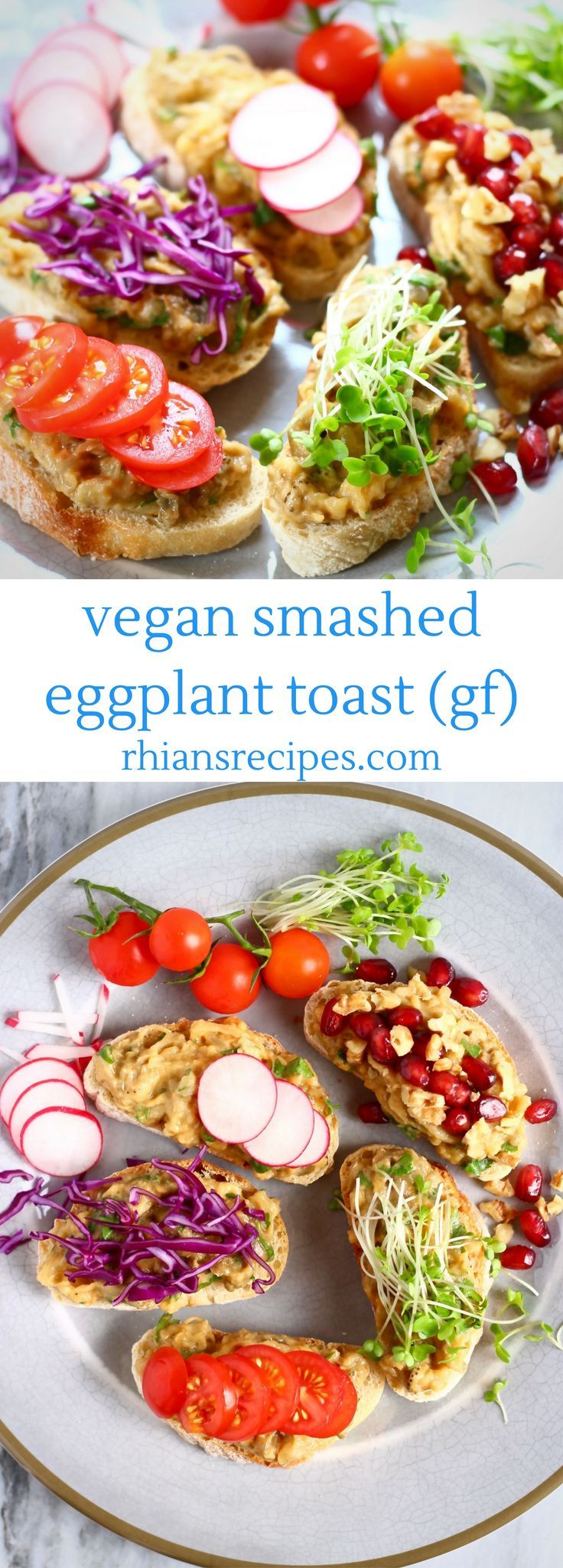 This Vegan Smashed Eggplant (Aubergine) Toast is a great alternative avocado toast! Perfect for breakfast or brunch. Gluten-free.