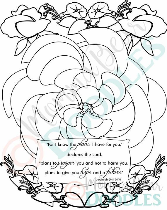 Scripture Coloring Page Flower Jeremiah 29 11 Printable