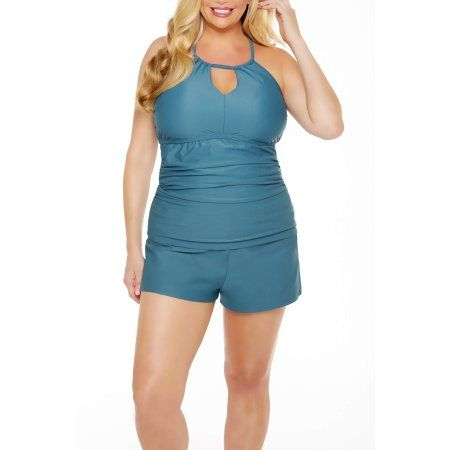 1ed5baa9831 Time and Tru Women s Plus-Size Shirred Halter Tankini Swimsuit Top ...