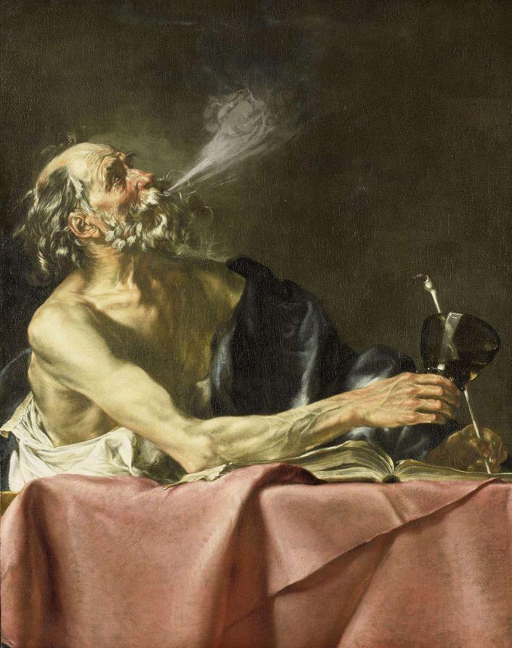 """Hendrick van Someren   """"The Smoker, Hendrick van Someren, c. 1615 - c. 1625   De roker; allegorie op de vergankelijkheid. Een oude man die aan een tafel gezeten een pijp rookt, in de rechterhand een roemer, in de linkerhand een pijp. Op tafel ligt een opengeslagen boek."""