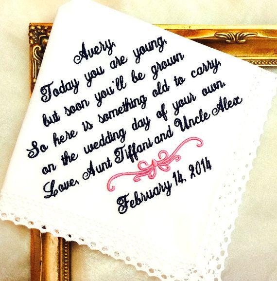 Flower Girl Wedding Gift Handkerchief  Today YOU by MisterandMrs, $22.95 #flowergirl #weddings #bride
