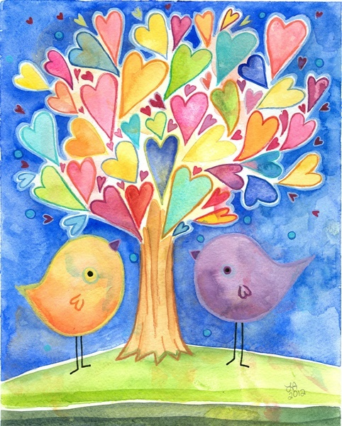 I love this heart tree and would love to do this on a journal page with sayings or 'loves' written in the hearts.
