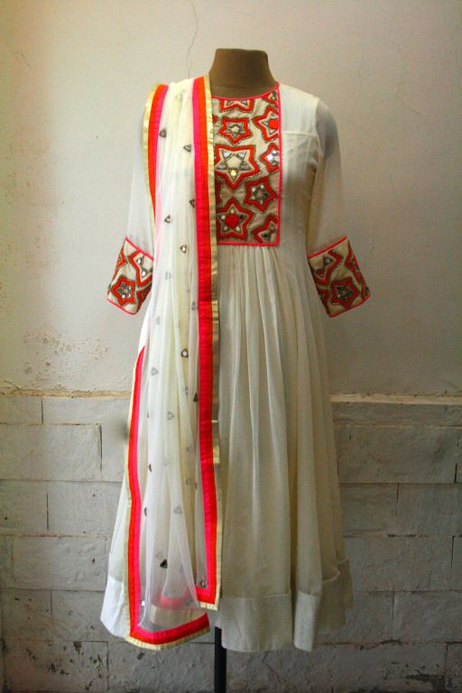 elegant white anarkali
