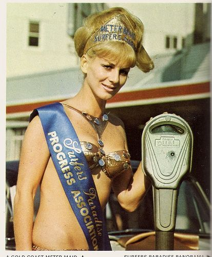 Gold Coast Meter Maid Keeping tourists meters topped up, 1973