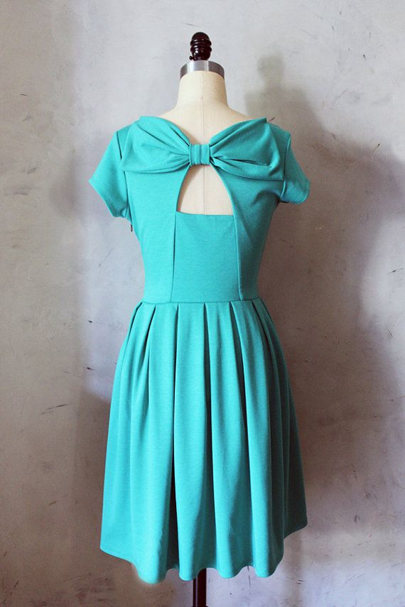HOLLY GOLIGHTLY in JADE - Teal green dress with pockets // pleated skirt // back cut out & bow // bridesmaid dress // vintage inspired